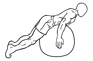 Back extension on stability ball small frame 1