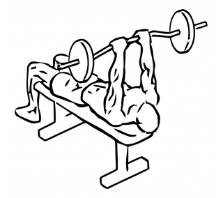 Lying close grip triceps press to chin with barbell small frame 1