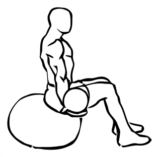 Medicine ball biceps curl on stability ball small frame 1