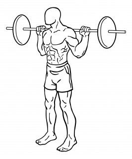 Narrow stance squat with barbell small frame 1
