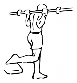 One leg squat with barbell small frame 1