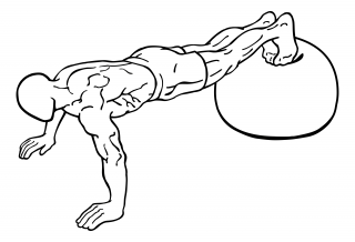 Push ups with feet on exercise ball small frame 1