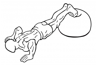 Push ups with feet on exercise ball small frame 2