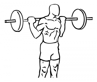 Rocking standing calf raise with barbell small frame 1