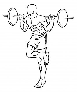 Single leg squat with barbell small frame 1
