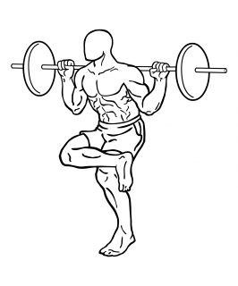 Single leg squat with barbell small frame 2