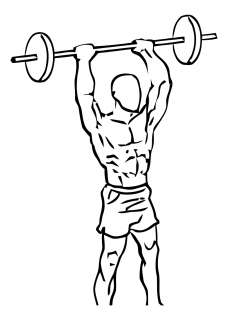 Standing overhead triceps extension with barbell small frame 1